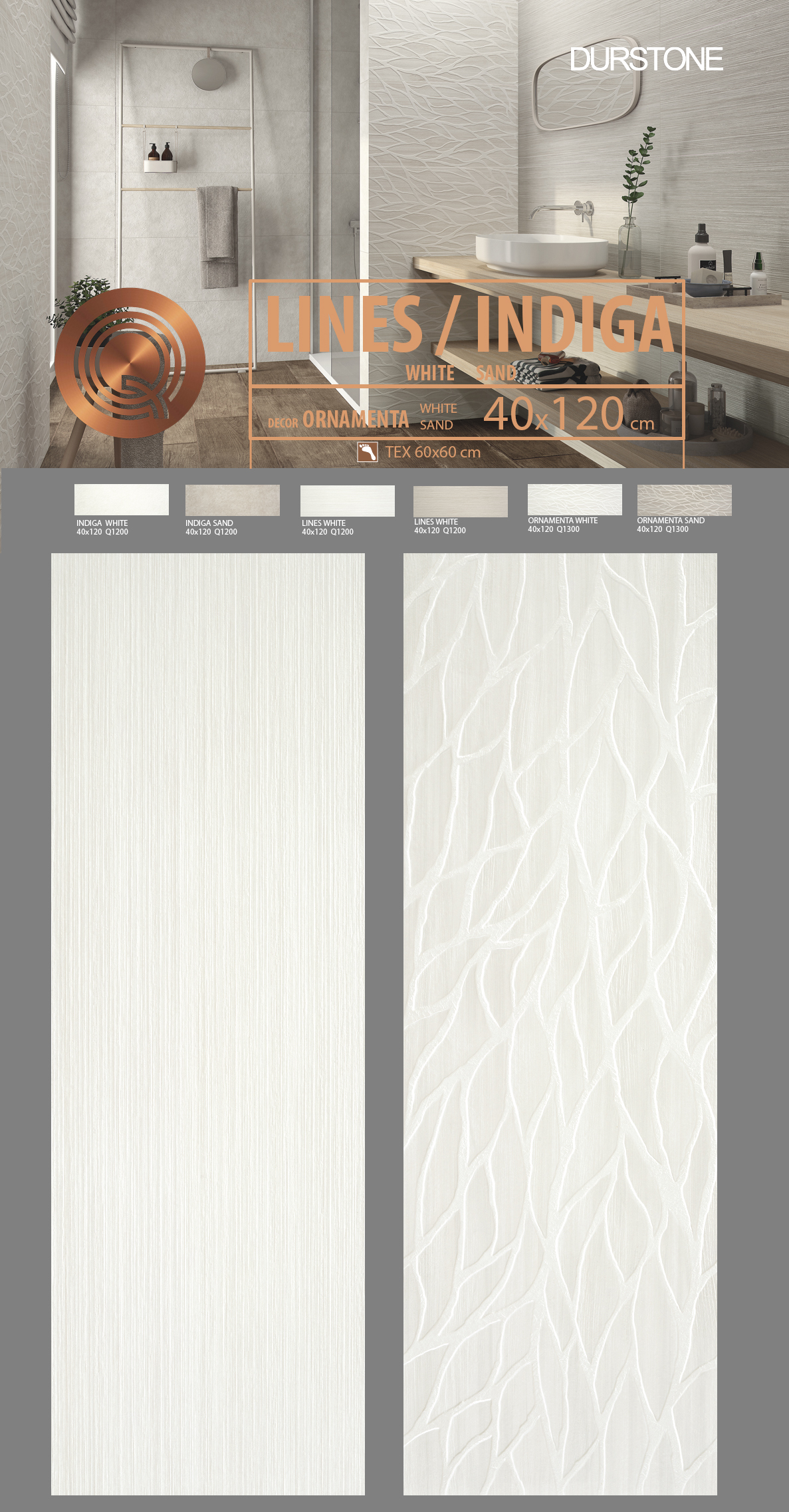 6045 RV PANEL INDIGA / LINES / ORNAMENTA WHITE Cod. 6045